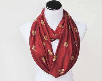 Fox scarf, cute infinity scarf Burgundy fox infinity scarf loop scarf soft jersey knit foxy scarf circle scarf gift for girl gift for mom
