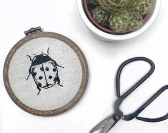 "2.5"" Ladybird Blackwork Embroidery Hoop"