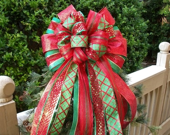 Red and Green Christmas Tree Bow Topper, Christmas Tree Bow, Traditional Colors, Christmas Bows For Wreaths