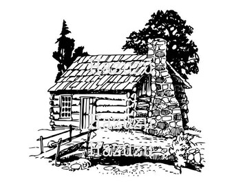Log Cabin Drawing PNG clip art vintage digital stamp instant download mixed media collage junk journal scrapbook