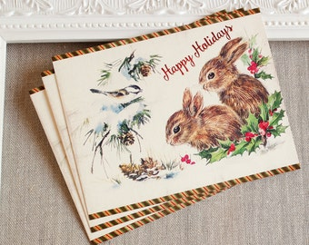 Holiday PostCards Happy Holidays Bunnies Bird Snow Pine Holly Set of five