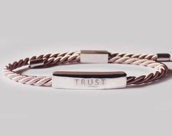 trust in us bracelet, reminder bracelet, wish bracelet, friendship bracelet, silk bracelet, dainty bracelet, adjustable bracelet, bracelet