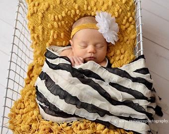 Ruffle Stretch Fabric Wrap Licorice Black Cream Striped Newborn Photography Prop Posing Layer