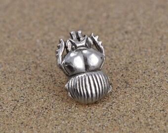 Scarab Beetle Pin / Tie Tack - Sterling Silver