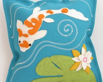 Turquoise Koi Fish & Lily Pad Pillow in Turquoise, Orange, Green and White Wool Felt, Handmade Applique Lily Pad Pillow
