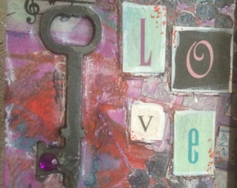Love Holds the Key Mini Mixed Media Framed Art