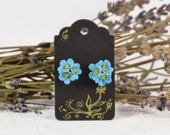 Flowers Stud Earrings - Polymer clay - Floral jewellery - Handmade jewelry