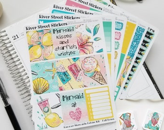 SUMMER MERMAIDS DELUXE Weekly Planner Sticker Kit for Erin Condren Life Planner, The Happy Planner, Recollections, Limelife Planners