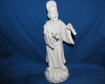 Blanc de Chine Confucious Statue, Mid Century