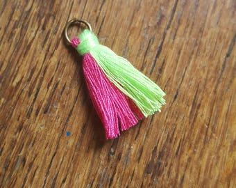 The two-tone pink and neon green tassel with ring