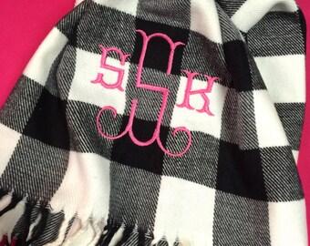 Monogrammed Buffalo Plaid Cashmere-feel Scarf - Monogram Gingham Scarf - Monogrammed Plaid Scarves - Christmas Gift Idea - Stocking Stuffer