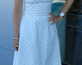 ONE OF A KIND!! Handmade Cotton Rockabilly Dress with Bow Print (Size 6)