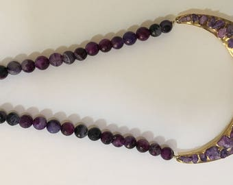 Amethyst necklace with Druzy stones