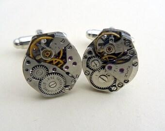 Watch movement cufflinks, steampunk torch soldered cuff links vintage mechanisms