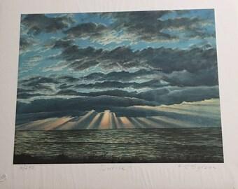 "Asheville North Carolina Artist Ray Byram's Giclee Print ""Sunrise II"" Shrink Wrapped"