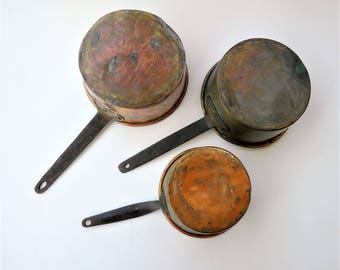 French Copper Sauce Pan Set with Cast Iron Rivoted Handles - Set of 3