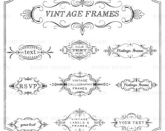 Rustic Frames Clipart - Wedding Frame Clipart - Rustic Clipart - Boho Clipart - Clip Art - EPS & PNG - Instant Download