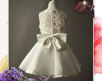 High End Pure Cherry Lace Translucent Flower Girl Dress