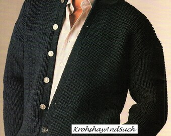 Mens Cardigan, High Or Low Button Up, Plus Size, Knitting Pattern. PDF Instant Download
