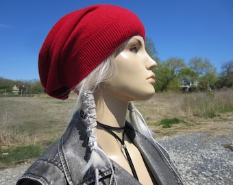100% Pure Cashmere Slouchy Beanie Hat Woman's Red Knit Slouch Tam A1717