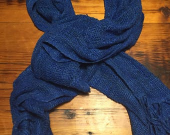 Loose weave blue raw silk scarf (70x20in)