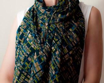 Blaugrün blauen Schal Classic Tube Schal lang überdimensionale Schal Meer grünen Schal geometrische Print Wrap Unisex Womens Männer Frühjahr Mode-Accessoires