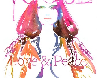 Vogue Cover Art, Fashion Illustration, Watercolor Vogue Cover,  Fashion Art,  Love & Peace, Paris Vogue Cover, Vogue Painting, Vogue Poster