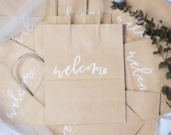 Welcome Bags // Wedding Gift Bags // Calligraphy Hand Lettered Gift Bags // Wedding Favors