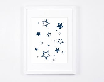 Navy Blue Stars Nursery Art Printable, Stars Art, Modern Wall Art, Navy Nursery Digital Print, Scandinavian Baby Room Decor, Boys Room
