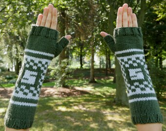 """Harry Potter Slytherin House Armwarmers - Hand Knit Fingerless Gloves - Wristwarmers - Green & Grey Pattern Fingerless Mittens with """"S"""" Logo"""