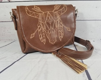 Brown Leather Crossbody Purse; Embroidered Leather Purse; Messenger Purse; Small Purse; Rustic Bag; Arrow Fabric Bag; Adjustable Strap Bag