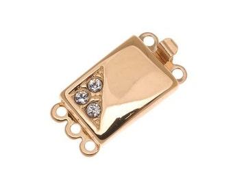 Gold Plated Elegant Elements 3 Strand Box Clasp
