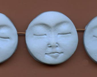 Moon Beads   Lot of 3   Pale Blue  Polymer   Side Drilled BLMB 3