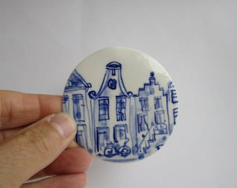 Dutch Blue Delft Canal Houses - Amsterdam Gables -  Handpainted  Porcelain  Wall Hanging - Holland - The Netherlands