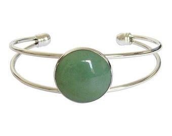 Silver plated cabochon bracelet - aventurine