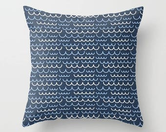 Nautical Pillow cover Wave Pillow Cover Decorative Pillow Cover Beachy Pillow Navy Pillow