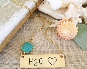 H20 Bar Necklace Stamped Gold Fill Nautical Name plate Customizable Beach Wedding Bridesmaids Friend Gift Personalized