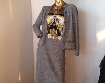 Vintage Oscar De la Renta blue multicolr sweater knit 2 pc suit