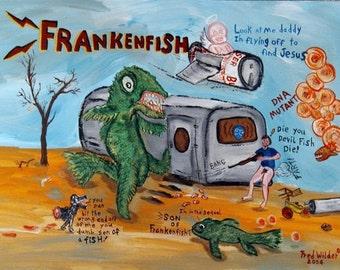 FRANKENFISH  mutant snakehead monster fish outsider art painting