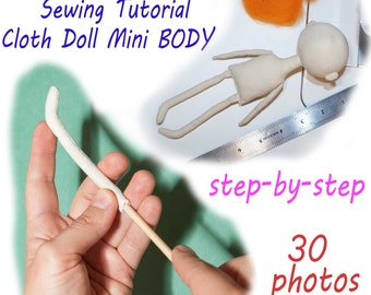 PDF cloth doll mini body Pattern & Tutorial, dolls body sewing pattern, pdf dolls mini body pattern, cloth doll pattern, rag doll pattern