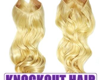 "Fits like a Halo Hair Extensions 20"" - 150 Grams 100% Premium Fiber Wavy Hair (Lightest Blonde - #613)"