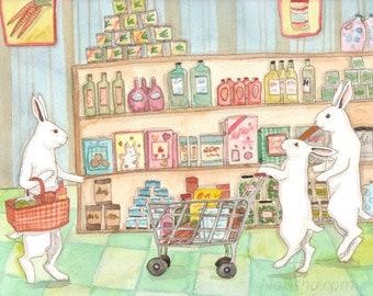Grocery Store - Fine Art Rabbit Print
