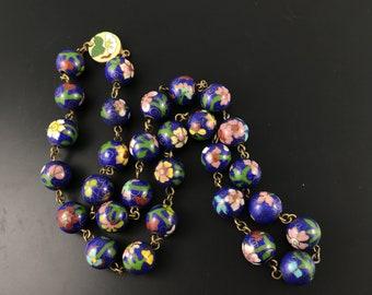 Antique Chinese Blue Cloisonné Necklace No.001745