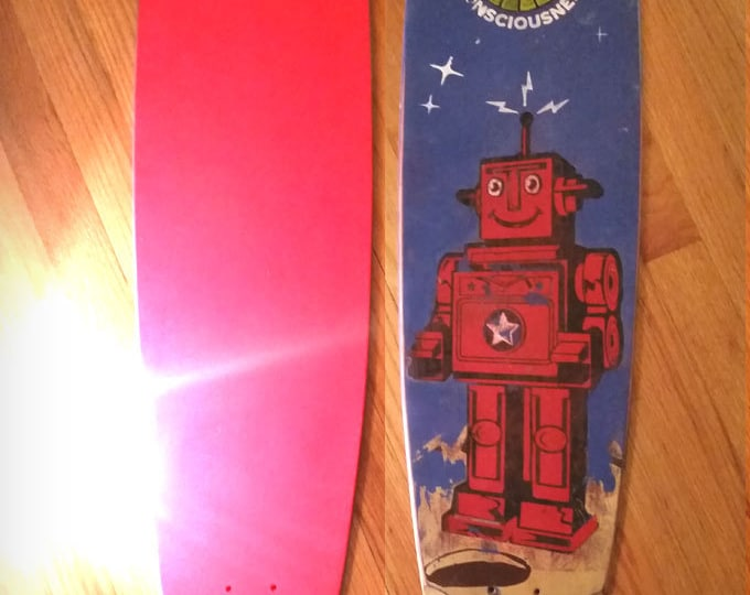 Longboard Robot Skateboard Deck, Retro Vintage Robot Pintail Longboard Designed and Distressed Skate-deck. 9 x 43 inch skate deck