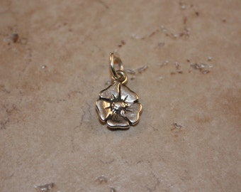 Sterling Silver Peony Flower Mini Charm