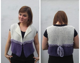 White and purple mohair vest with bow, mohair vest, wool vest, purple vest, knit vest, vest with bow, mohair sweater, soft vest, mohair bow