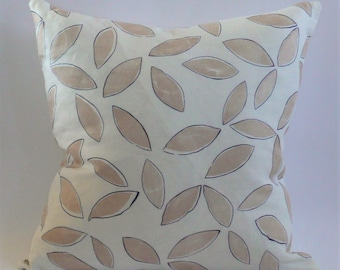 Leaves Pillow Cover in Coffee and Blue