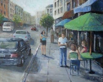 Street Cafe - Original Oil Painting
