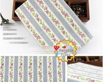 1 x coupon 50x145cm vertical flower print pattern pure linen fabric