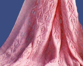 Baby Knitting Pattern, Lacy Baby Blanket Knitting Pattern, Baby Afghan Pattern, Nursery Decor, INSTANT Download Pattern PDF (2312)